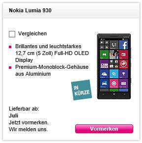 Lumia 930 vormerken