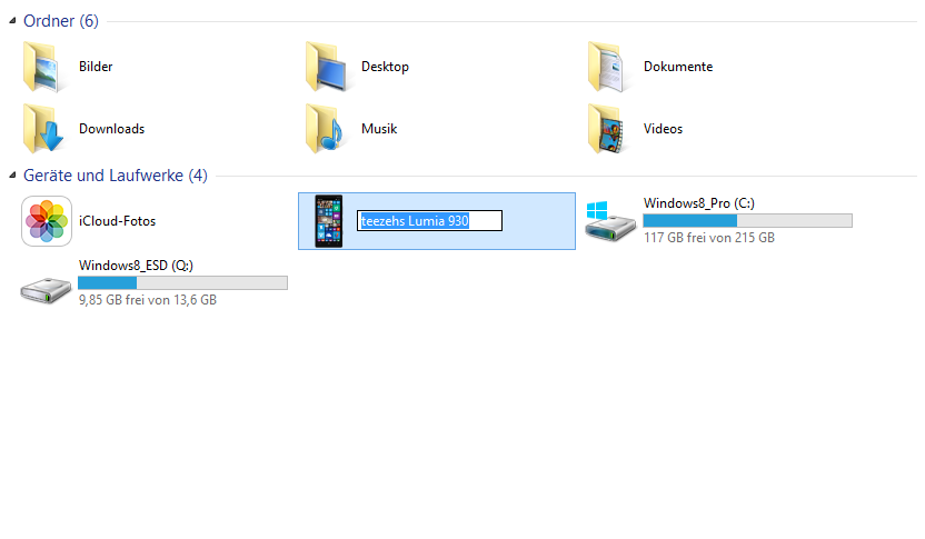 Windows-Phone-Gerät im Windows Explorer