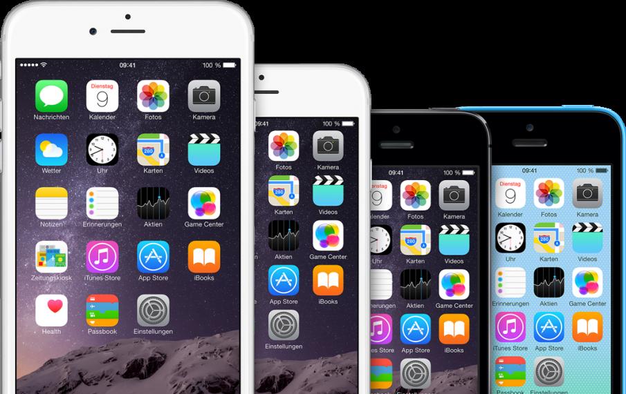 iPhone-Größenvergleich, generationsübergreifend