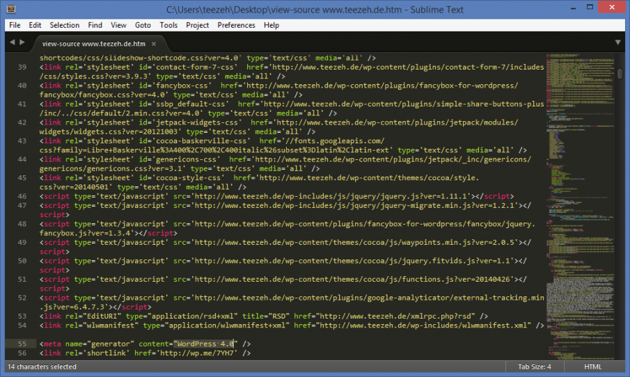 Quellcode von www.teezeh.de in Sublime Text 3