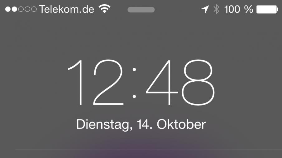 iPhone 6 Plus, man beachte die Akkuanzeige