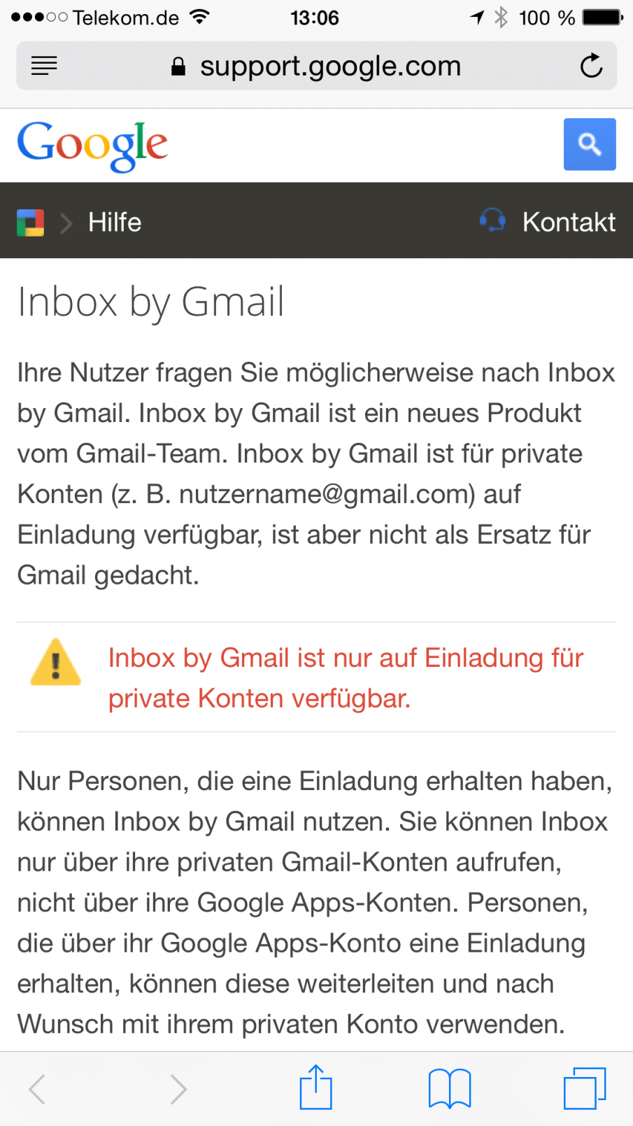 Inbox by Gmail ist nur für persönliche Gmail-Konten verfügbar, Screenshot
