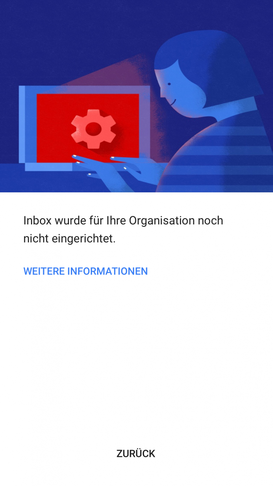 Inbox wurde für Ihr Unternehmen noch nicht eingerichtet, Screenshot