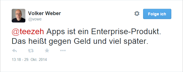 Antwort von Volker bei Twitter