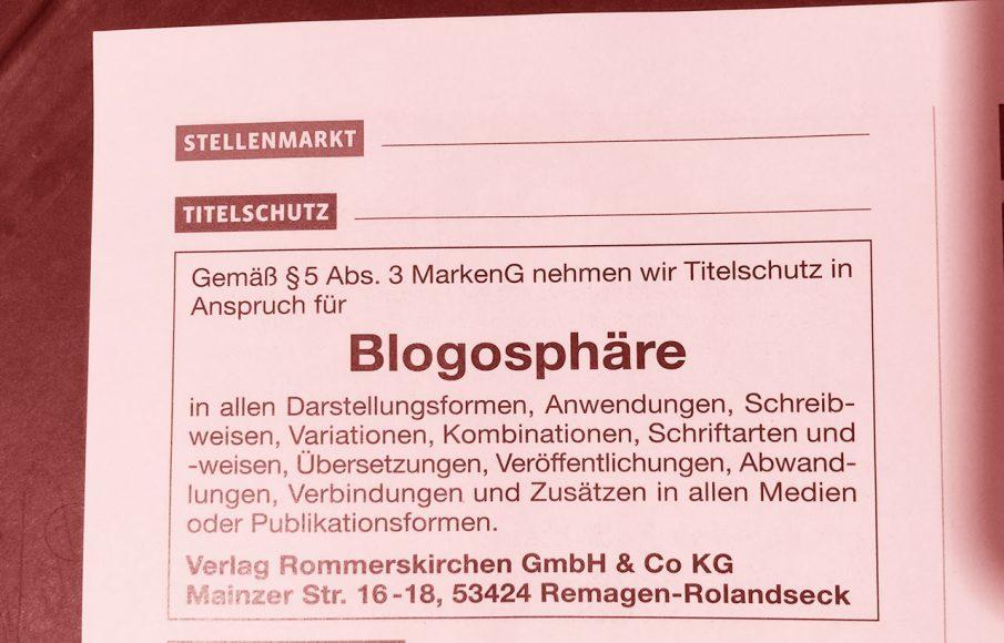 Titelschutz für 'Blogosphäre', Foto aus 'journalist' 11/2014