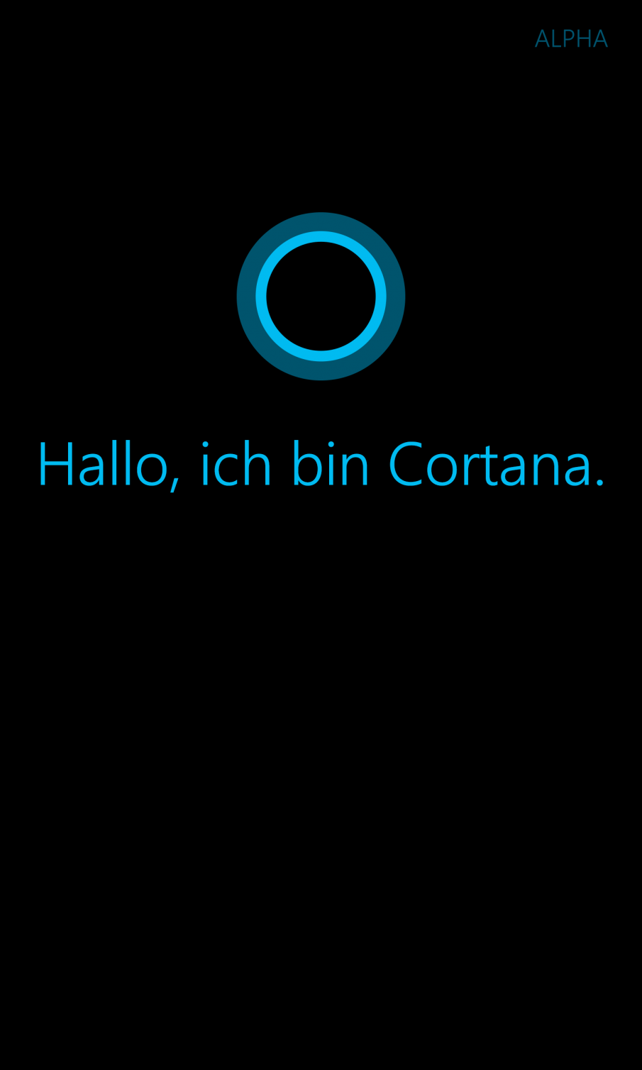 Hallo, ich bin Cortana - Screenshot First Run