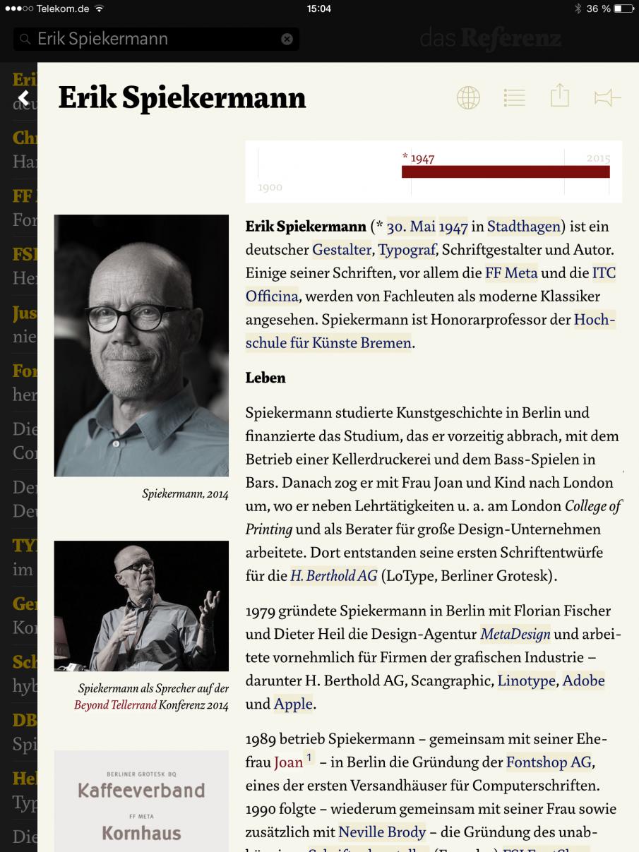Das Referenz mit Wikipedia-Artikel zu Erik Spiekermann