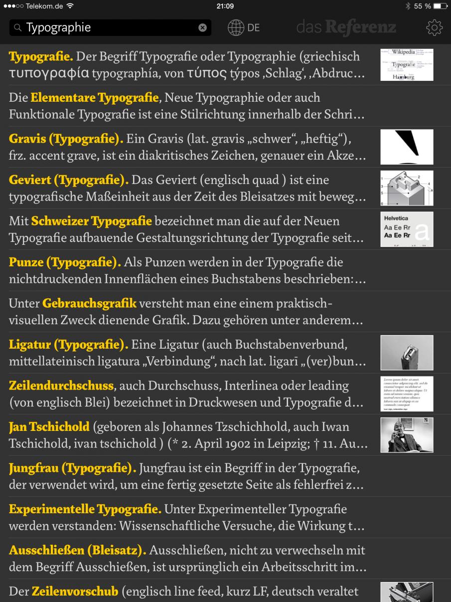 Das Referenz mit Trefferliste zu Typographie
