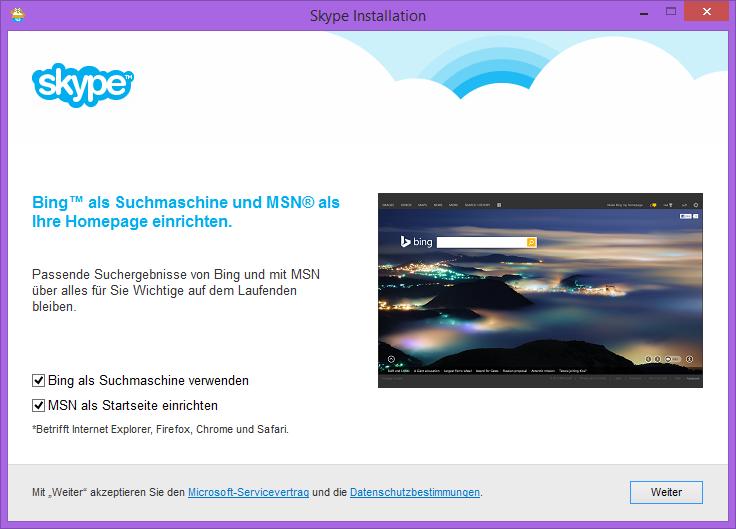 Skype Opt-in für Bing und MSN als Startseite