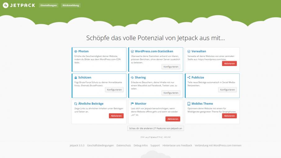 Jetpack Verwaltung Screenshot