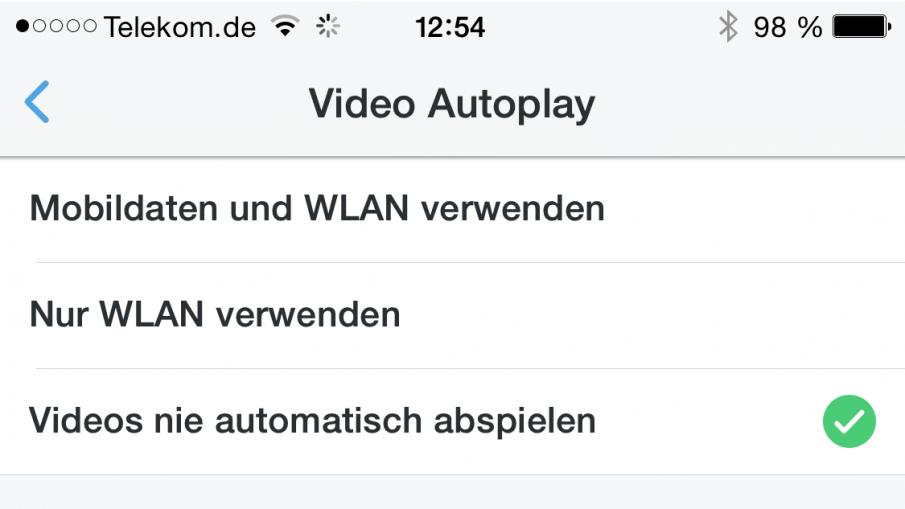 Video Autoplay abschalten in der Twitter-App