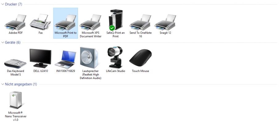 Druckerliste mit Microsoft Print to PDF