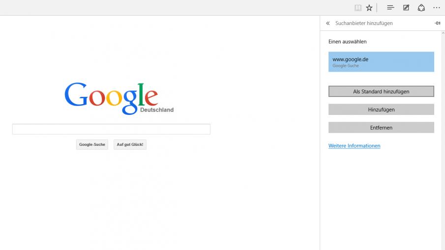 Edge auf Google als Suchanbieter umstellen, Screenshot