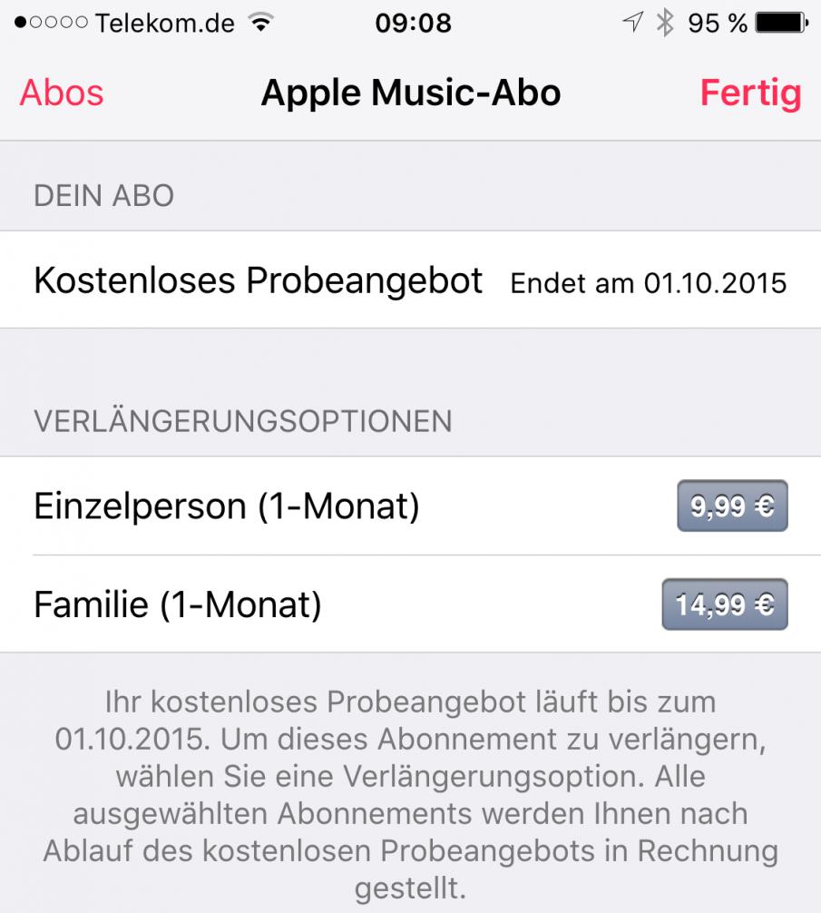 Apple Music: Kostenloses Probeabo nicht verlängert