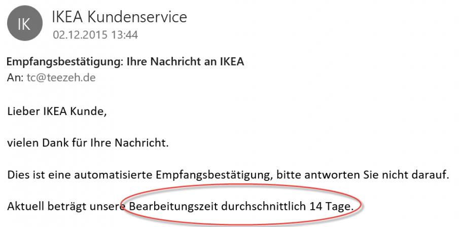 IKEA E-Mail Bearbeitungszeit