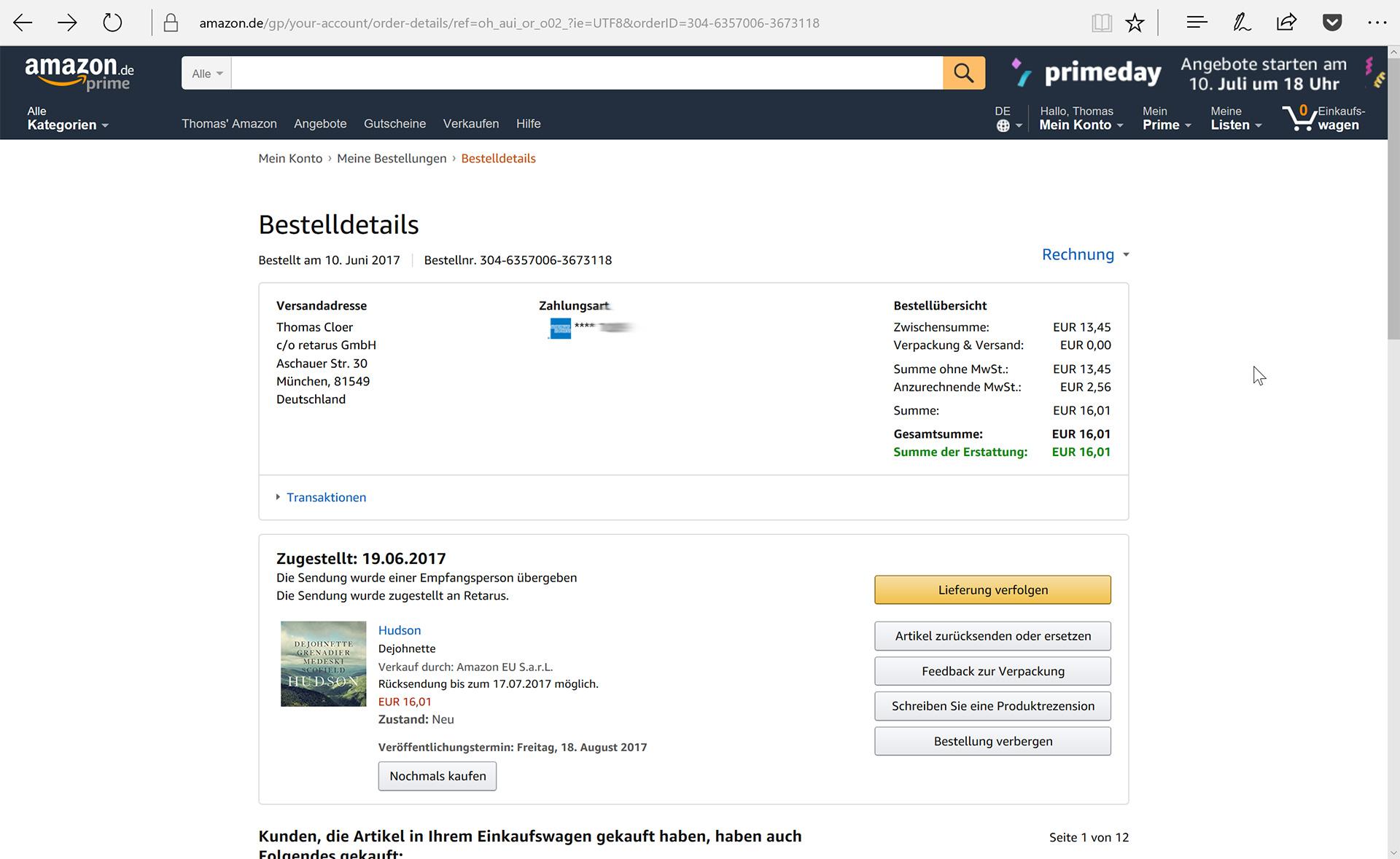 Hudson, Bestelldetails in meinem Amazon-Konto