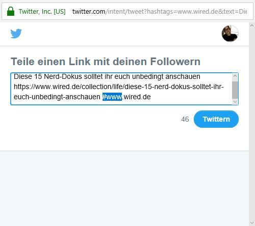 """Screenshot: Hashtag mit Punkten bei der deutschen """"WIRED"""""""